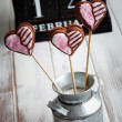 Valentine cookie pops — Stock Photo