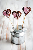 Valentine cookie pops — ストック写真