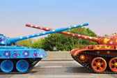 Painted tanks with crossed trunks. Kyiv, Ukraine — Stock Photo