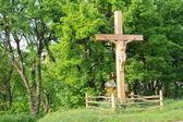 Ukřižování Ježíše na dřevěný kříž — Stock fotografie