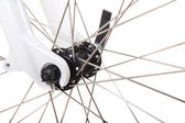 Spokes on bicycle wheel isolated — Stock Photo