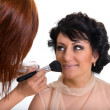 Make-up artist at work — Stock Photo