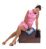 アジアの女性の古いケースのチャイナ ドレス — ストック写真