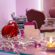 Stock Photo: Interior of hair salon with Christmas decoration and blank busin