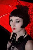 Vackra vampyren kvinna anläggning paraply — Stockfoto