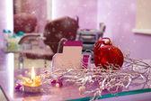 Kuaför salonu ile Noel dekorasyonu ve boş busin iç — Stok fotoğraf