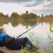 Man fishing on the lake — Stock Photo