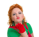 Attractive pin-up girl blowing a kiss — Stock Photo