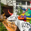 Stock Photo: Three funny painted plastic cows
