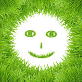 Green smiley eco grass face — Stock Photo