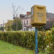 Old yellow post box — Stok fotoğraf