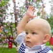 Little boy raising his hand up — Stock Photo