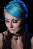 Portrait of Gothic woman with blue hairs — Stock Photo