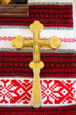 Cross prepared for ceremony in church — Stock Photo