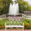Decorative Bench in autumn park with fountain — Stock Photo