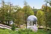 Beautiful white wedding gazebo in park — Photo