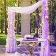 Beautiful wedding gazebo in summer park — Stock Photo