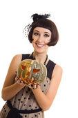 Beautifuk witch with pumpkin — Stock Photo