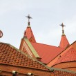 Church's red tile roofs in Minsk, Belarus — Stock fotografie