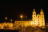 Cathedral of Holy Spirit at night in Minsk, Belarus — Stock Photo