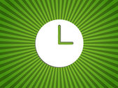 Clock showing 3 o'clock on a green background-EPS10 — Cтоковый вектор