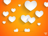Hearts balloons on orange background vector illustration — Stock Vector