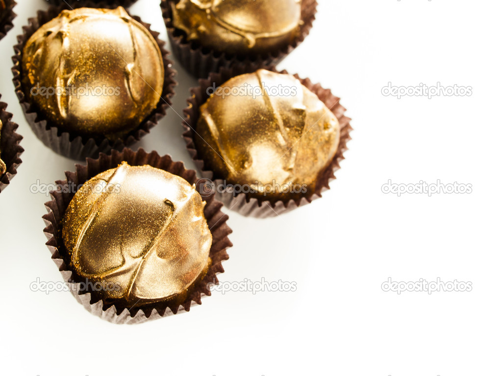 Gourmet champagne truffles derorated for New Year Eve celebration. — Stock Photo #15054949