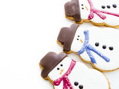 Snowman cookie — Stock Photo