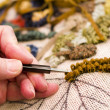 Rug hooking — Stock Photo