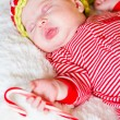 Newborn Christmas baby — Stock Photo