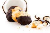 White dipped in dark chocolate macarons — Stock Photo