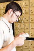 Student Checking mail — Stock Photo