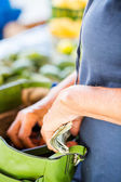 Woman  with money at market — Stock Photo