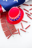 Roll of firecrackers with American flag — Stock Photo