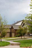 Suburban community with model homes. — Stock Photo