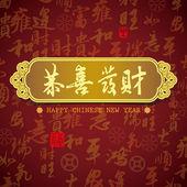 中国新年贺卡背景:祝你prosperit — 图库照片