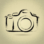 DSLR Camera with Brushwork — Stock Vector