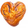 Heart shaped bread with love on white background — Foto de Stock