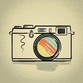 Rangefinder camera with Brushwork — Stock Vector