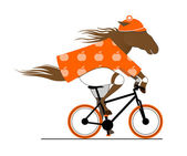 A Dappled Horse Riding a Bicycle. Cycle Caricature. — Stock Vector