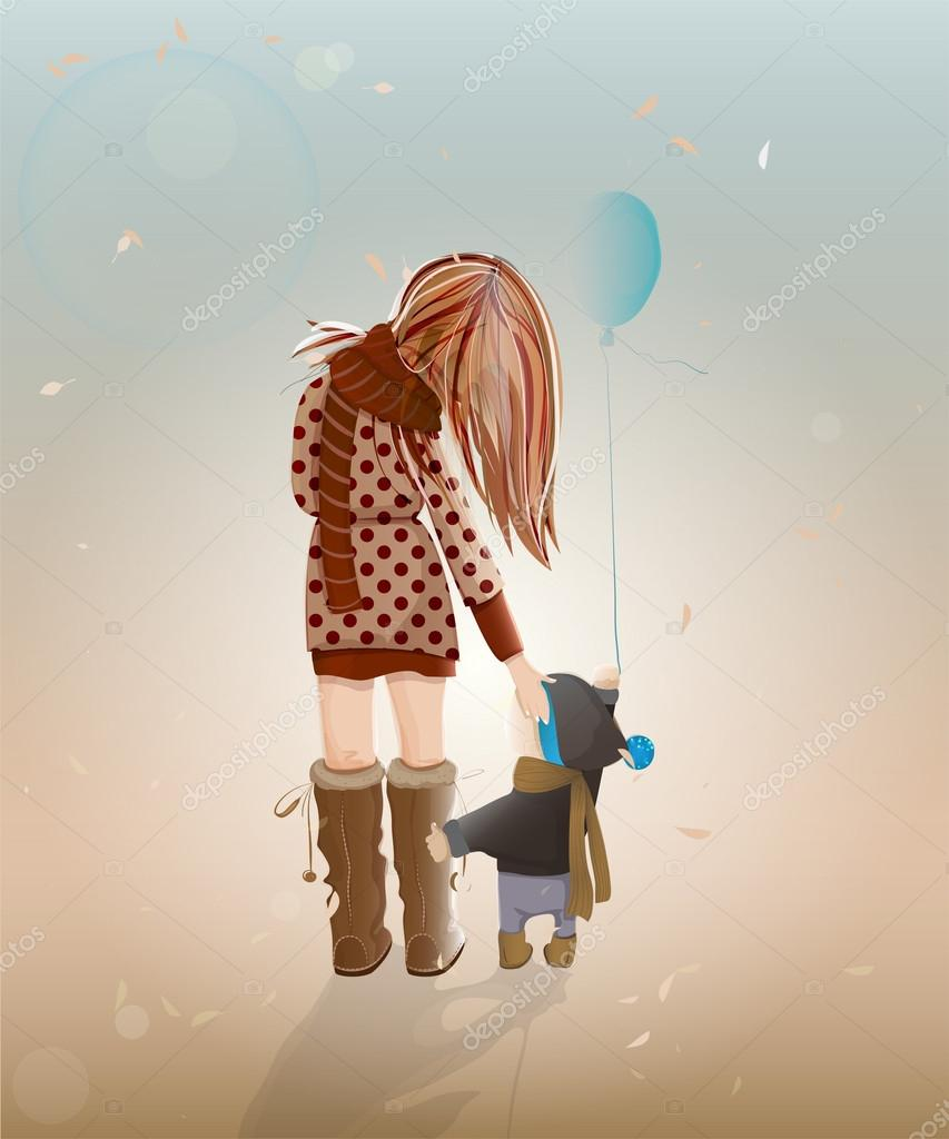 Vector illustration of walking with a child young woman. — Stock Vector #12424543