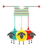 Tre pecore di filati di maglieria — Vettoriale Stock