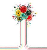 Knitting Yarn Balls Abstract Composition — Stock Vector
