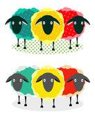 Three Sheep Illustration — Stock Vector