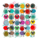 Knitting Yarn Balls and Sheep Abstract Square Composition — Vector de stock