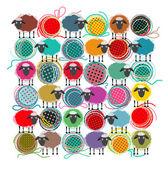 Tejer las ovejas y las bolas de hilo composición abstracta cuadrado — Vector de stock