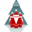 Three Santas and Christmas Tree — Stock Vector