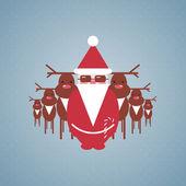 Santa and his Reindeer Gang Illustration — Stock Vector
