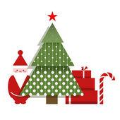 Santa Christmas Tree Presents and a Candy — Stock Vector