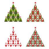 圣诞老人圣诞树 — 图库矢量图片